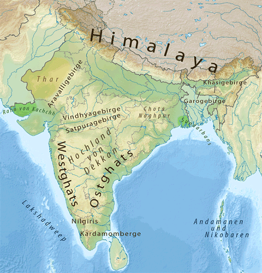 Geografische Informationen zu Indien