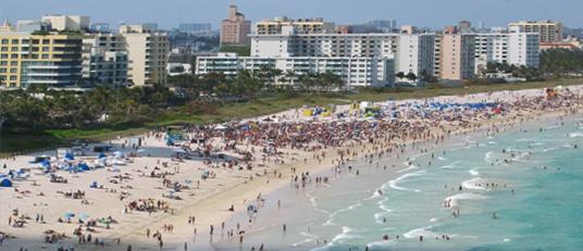Usa Miami Beach Traumhafter Strand Trotz Stadtnähe